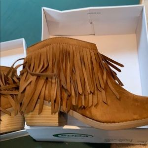 Soda suede booties with fringe